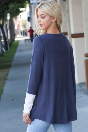 Navy Wholesale Contrast Cuff Long Sleeve Top with Front Pocket