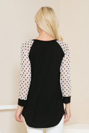 Wholesale Polka Dot Mesh Contrast Long Sleeve Top