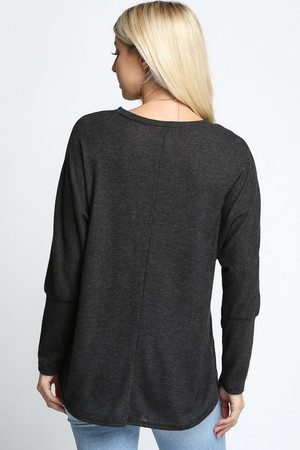 Charcoal Wholesale Solid Long Sleeve Dolman Plus Size Top