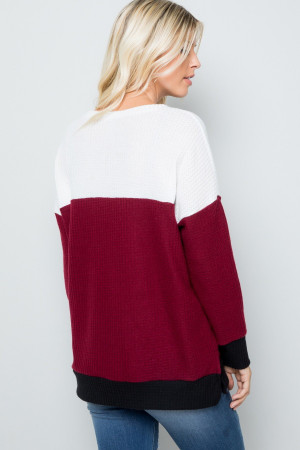 Burgundy Wholesale Waffle Knit Color Blocked Long Sleeve V Neck Top