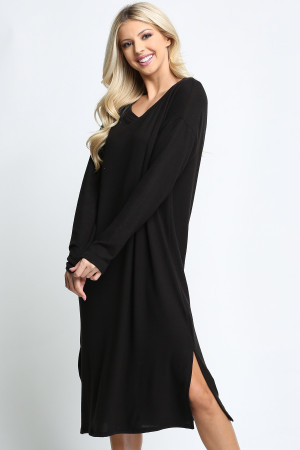 Black Wholesale Long Sleeve Side Slit Midi Length Plus Size Sweater Dress