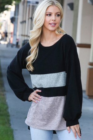 Black Wholesale Hi-Low Color Blocked Long Sleeve Top