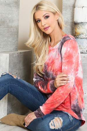 Wholesale Raspberry Tie Dye Round Neck Long Sleeve Plus Size Top
