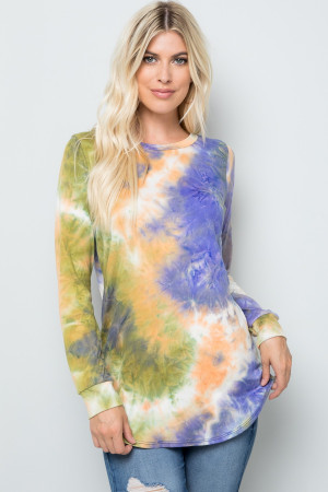 Wholesale Olive Tie Dye Round Neck Long Sleeve Plus Size Top