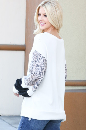 Ivory Wholesale Leopard Contrast Dropped Shoulder Long Sleeve Top