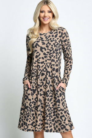 Taupe Wholesale -Leopard  Long Sleeve Midi Dress