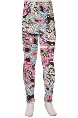 Wholesale Buttery Soft Pastel Sugar Skull Kids Leggings