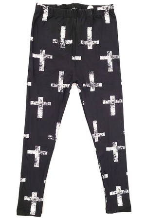 Wholesale Buttery Soft Faded Cross Kids Leggings