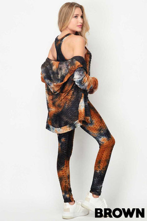 Wholesale Tie Dye 3 Piece Textured Scrunch Butt Leggings Tank Top and Hoodie Jacket Set