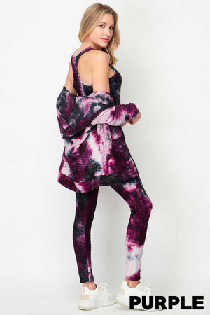 Wholesale Tie Dye 3 Piece Textured Scrunch Butt Leggings Tank Top and Hoodie Jacket Set