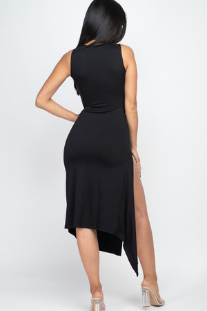 Wholesale Sleeveless Round Neck Side Slit Maxi Dress