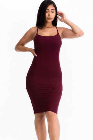 Wholesale Spaghetti Strap Rib Knit Bodycon Cami Dress