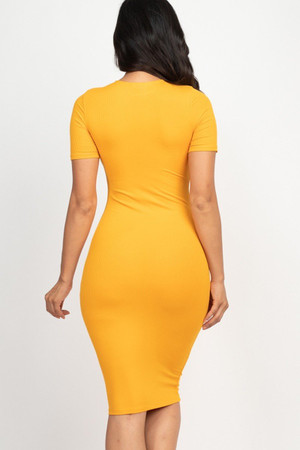 Wholesale Short Sleeve Rib Knit Bodycon Midi Dress
