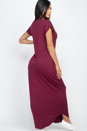 Wholesale Solid Short Sleeve V-Neck Maxi Dress