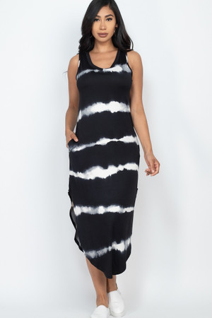 Wholesale Tie Dye Striped Sleeveless Slit Hem Maxi Dress with Pockets