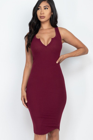 Wholesale Sleeveless Split V Neckline Rib Knit Bodycon Midi Dress