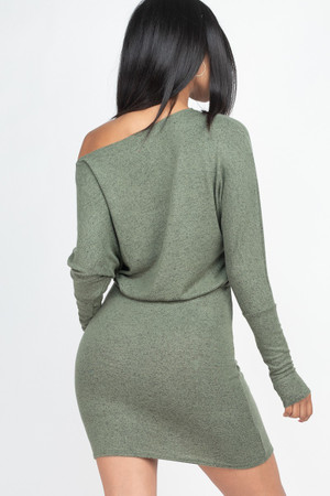Wholesale Dolman Sleeve Brushed Knit Off the Shoulder Mini Dress