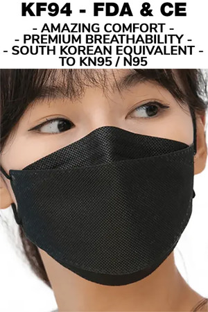 Black KF94 Face Mask - Individually Sealed - Premium Oral Respirator