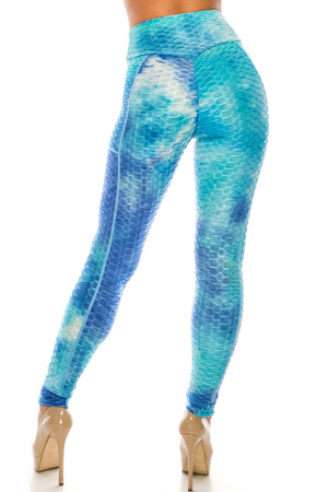 Wholesale Premium Gorgeous Blue Tie Dye Scrunch Butt Workout Leggings with Side Pockets