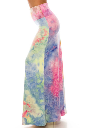 Wholesale Buttery Soft Multi-Color Pastel Tie Dye Maxi Skirt
