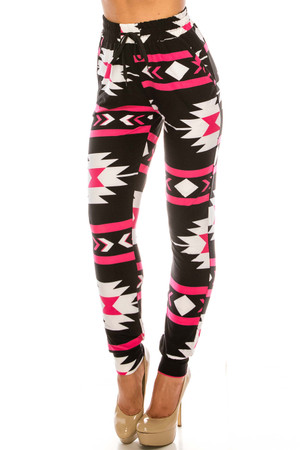 Wholesale Buttery Soft Magenta Aztec Tribal Joggers