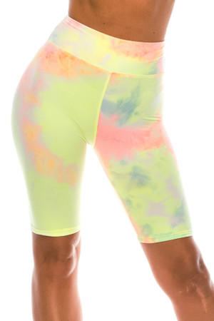 Wholesale Buttery Soft Pastel Tie Dye High Waisted Plus Size Biker Shorts - 3 Inch Waist