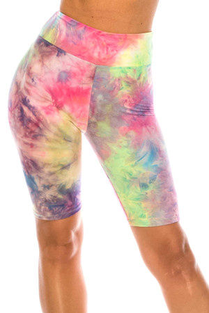 Wholesale Buttery Soft Tie Dye High Waisted Plus Size Biker Shorts - 3 Inch Waist