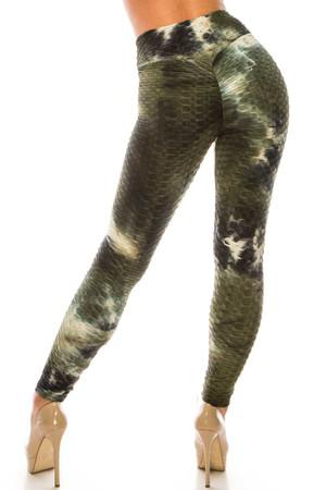 Wholesale Olive and Black Tie Dye Scrunch Butt Sport Leggings