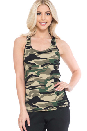 Wholesale Green Camouflage Racerback Workout Tank Top