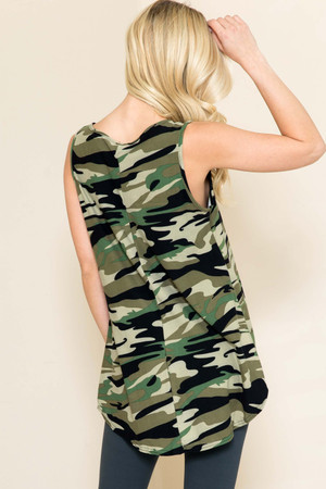 Wholesale Green Camouflage Loose Fit Tank Top
