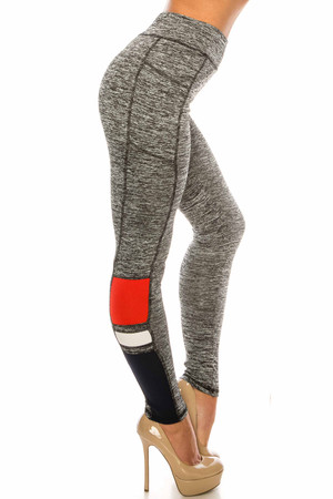 Wholesale Red Accent High Waisted Workout Leggings with Side Pocket