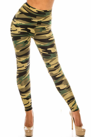 Wholesale Green Camouflage Scrunch Butt Sport Leggings
