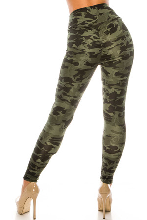 Wholesale Dark Olive Camouflage Scrunch Butt Sport Leggings