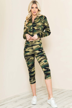 Wholesale 2 Piece Green Camouflage Capris and Cropped Hooded Jacket Set