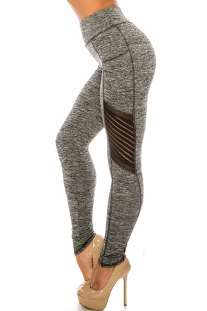 Wholesale Heathered Charcoal Serrated Mesh High Waisted Sport Leggings
