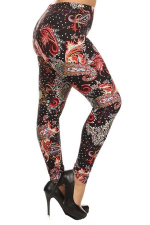 Wholesale Buttery Soft Carnival Paisley Extra Plus Size Leggings - 3X-5X
