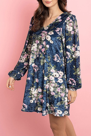 Navy Wholesale Velvet Floral Long Sleeve Gathered Cuff V-Neck Mini Dress