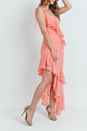 Coral  Wholesale Cascading Ruffle Hi-Low Shoulder Tie Maxi Dress