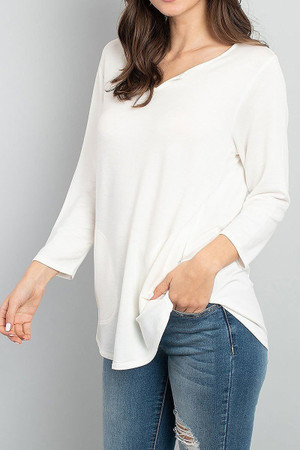 Ivory Wholesale Split Neck Round Hem Long Sleeve Tunic with Pockets