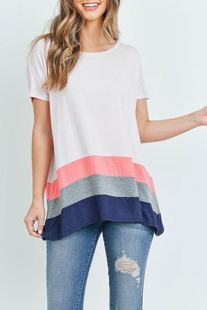 Wholesale Striped Color Block Hem Short Sleeve Tunic