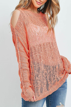 Coral Wholesale Sheer Crochet Detail Cold Shoulder Sweater
