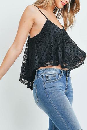 Black Wholesale Crochet Lace V-Neck Spaghetti Strap Crop Top