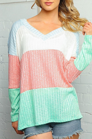 Wholesale Pastel Color Block Rib Knit Long Sleeve V-Neck Plus Size Top