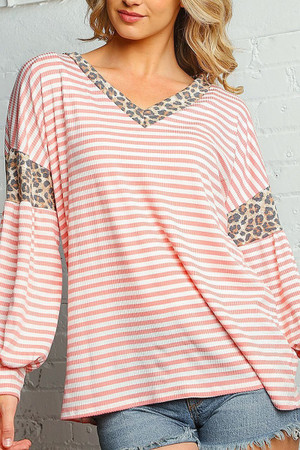 Wholesale Blush Pink Striped Leopard Print Accent Long Sleeve V-Neck Plus Size Top