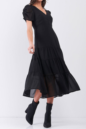 Wholesale Ruched Puff Sleeve Tiered Hem V-Neck Midi Dress