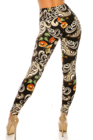 Wholesale Buttery Soft Brushed Elegant Floral Plus Size Leggings