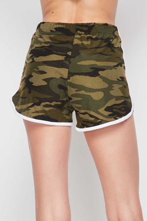 Wholesale Buttery Soft Green and White Camouflage Dolphin Shorts