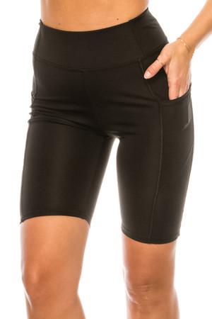 Wholesale Solid Black High Waist Sport Biker Shorts with Pockets