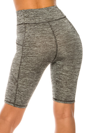 Wholesale Heather Gray High Waist Sport Biker Shorts with Pockets