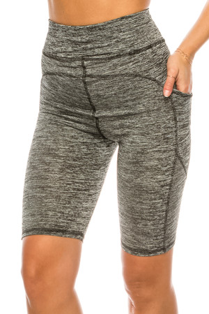 Wholesale Heather Gray High Waist Sport Biker Shorts with Pockets